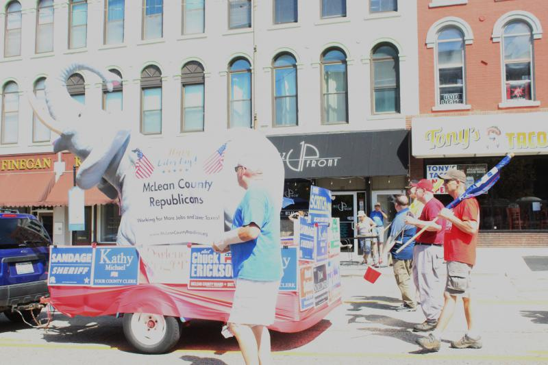 GOP float moves by