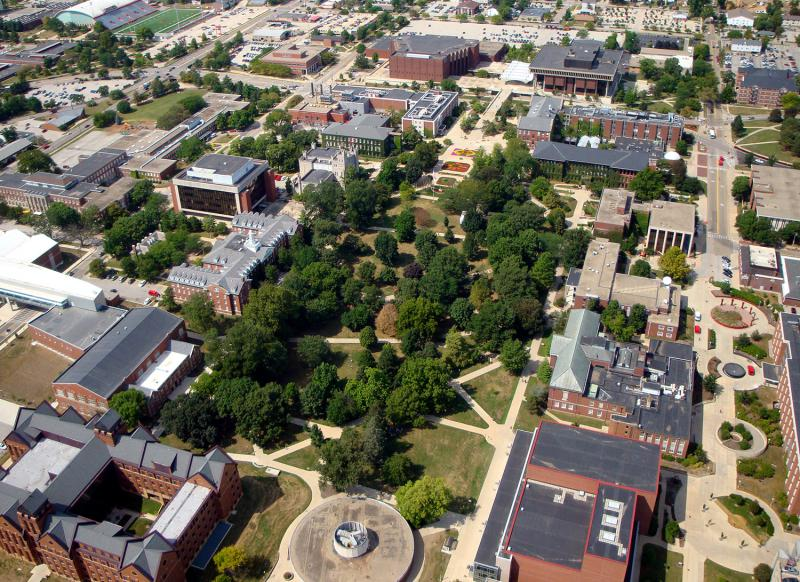 Aerial view of ISU quad