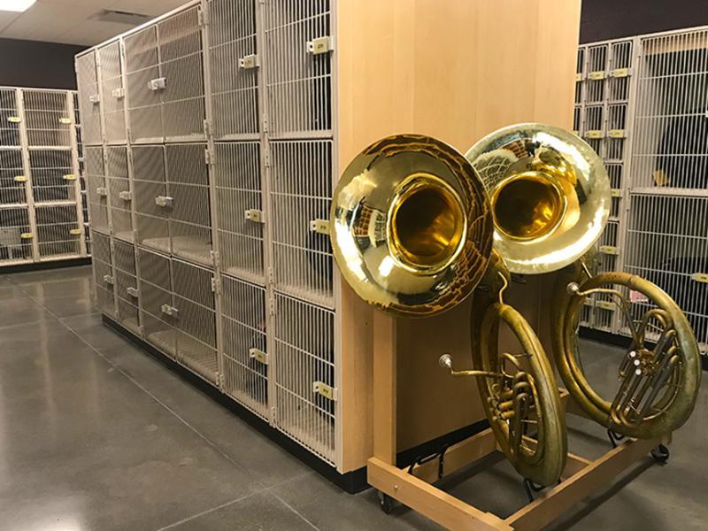 Tubas and instrument storage lockers