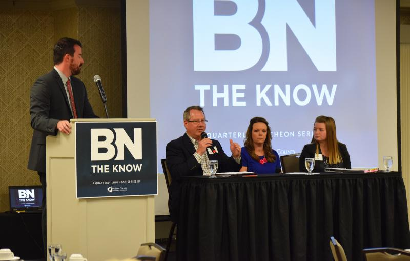 From left, panelists Paul Sherman (Sherman's), Cristin Lee (Kohl's), and Sarah Holck (Hy-Vee) participate in the Aug. 22 BN The Know discussion about retail, moderated by the Chamber's John Walsh.