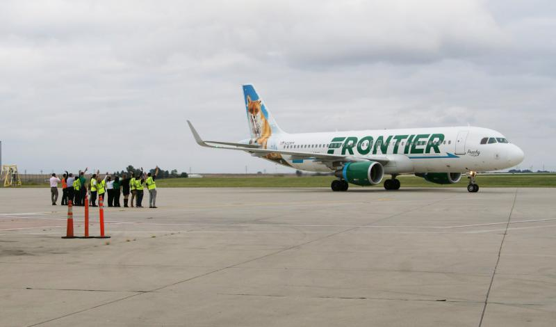 Frontier airplane on runway