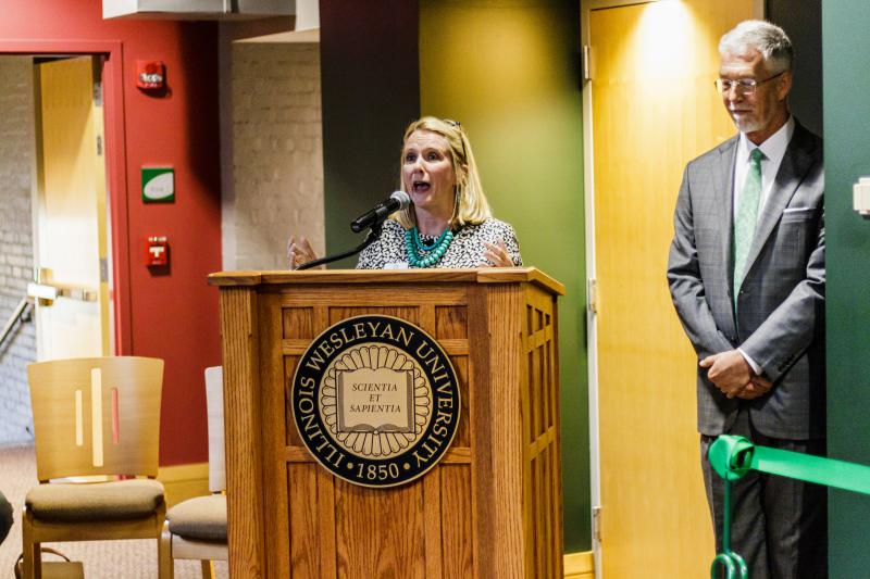 Illinois Wesleyan University official administers a speech at new esports arena.