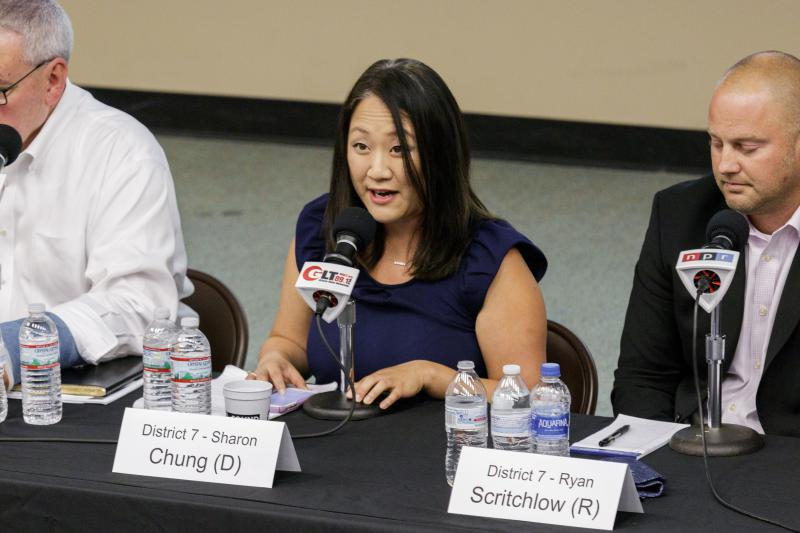 Democratic candidate for McLean County Board Sharon Chung at the Candidate Forum on Tuesday, Sept. 18, 2018, at Illinois State University.