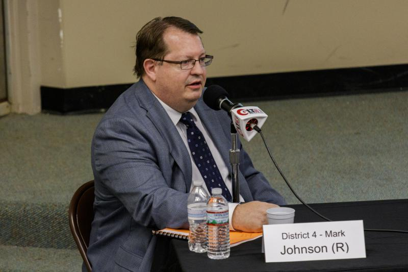 Republican incumbent McLean County Board member Mark Johnson at the Candidate Forum on Tuesday, Sept. 18, 2018, at Illinois State University.