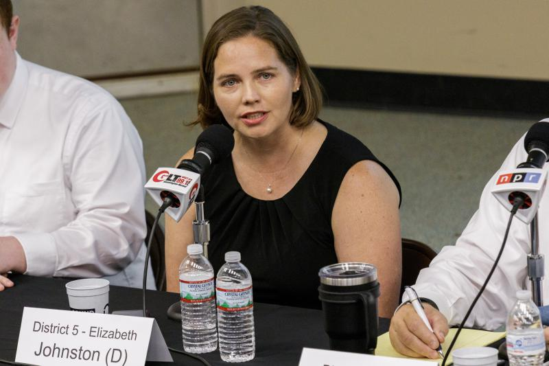 Democratic candidate for McLean County Board Elizabeth Johnston at the Candidate Forum on Tuesday, Sept. 18, 2018, at Illinois State University.