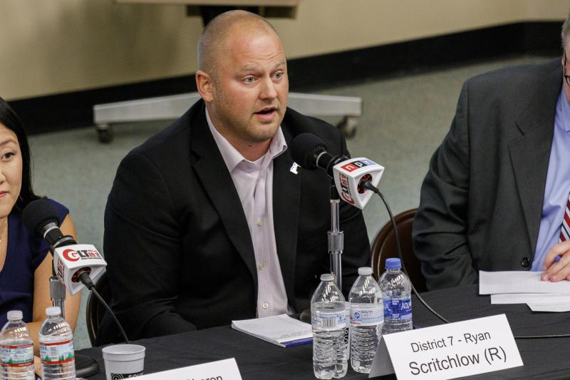 Republican incumbent McLean County Board member Ryan Scritchlow at the Candidate Forum on Tuesday, Sept. 18, 2018, at Illinois State University.