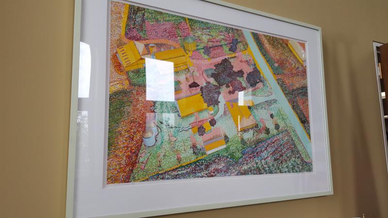 A photo of the Harold Gregor work hanging in the D.C. office of U.S. Senator Dick Durbin