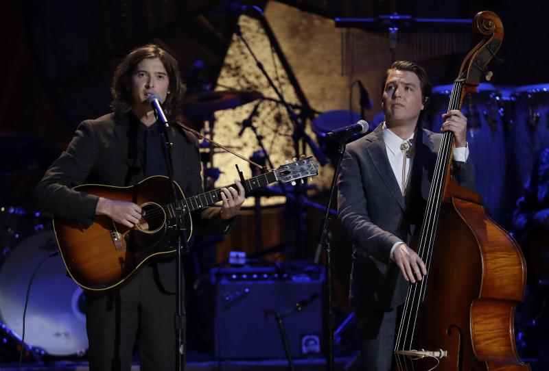 Milk Carton Kids (Joey Ryan, left and Kenneth Pattengale, right) performing at the American Honors and Awards show on Sept. 12, 2018.