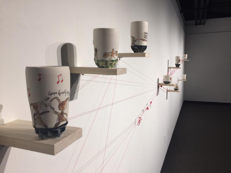 Ceramic cups in gallery