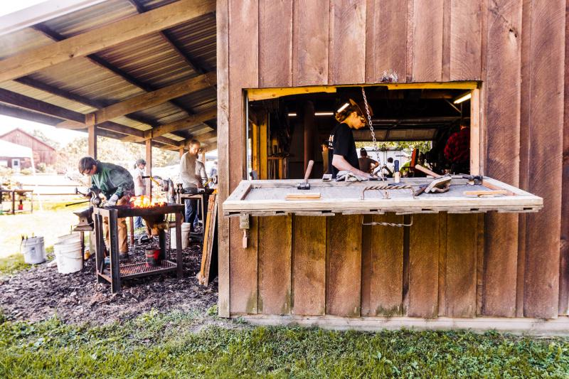 Blacksmiths at work at the Sugar Grove Nature Center Forge.