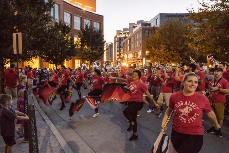 The Big Red Marching Machine performs Monday in Uptown Normal.