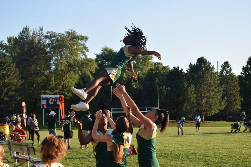 Bloomington Knockers cheerleaders entertain fans during a game at White Oak Park.