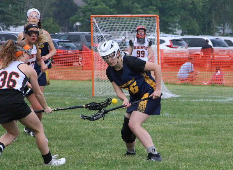 Lacrosse player makes a move
