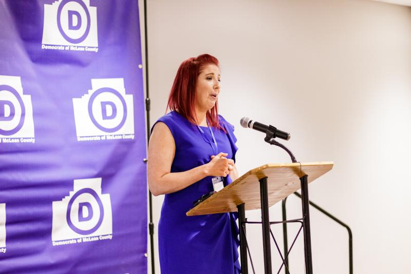 Shayna Watchinski addresses the crowd at Normal's Radisson Hotel after she won McLean County Board District 8 Nov. 6, 2018.