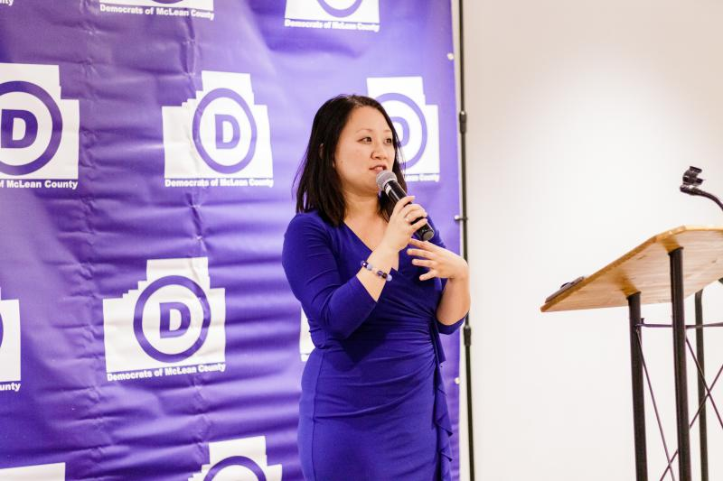 Sharon Chung addresses the crowd at Normal's Radisson Hotel after she won McLean County Board District 7, Nov. 6, 2018. She is thought to be the first Asian American elected to McLean County.