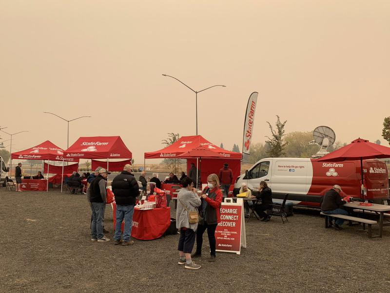 State Farm tents in wildfire area