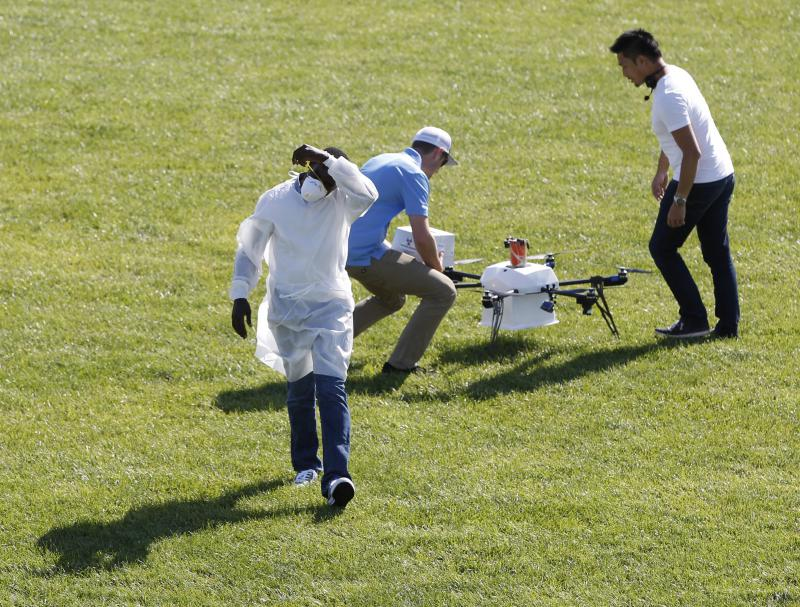 Drone delivery in field