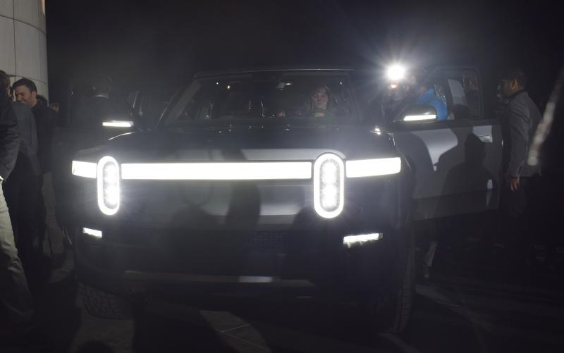 The front end of the Rivian R1T pickup truck at Monday's event at Griffith Observatory in Los Angeles.