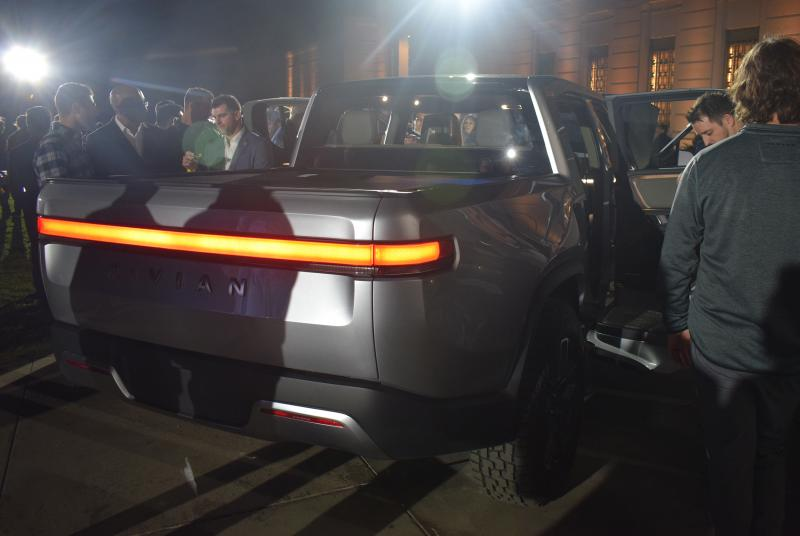 The back of the Rivian R1T pickup truck at Monday's event at Griffith Observatory in Los Angeles.