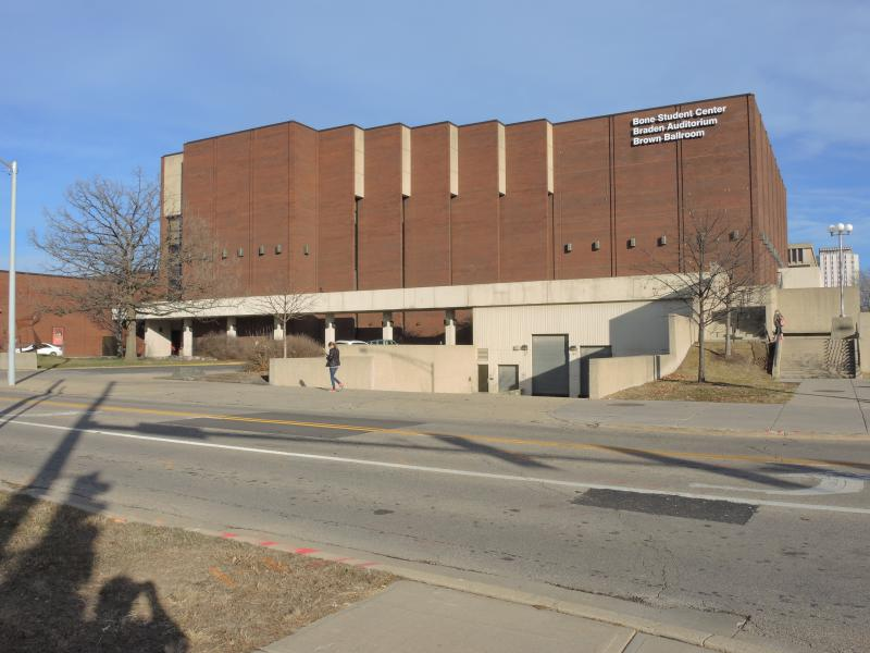 Braden Auditorium in ISU's Bone Student Center would get new curtains, sound tiles, and paint among a broader package of campus improvements heading to Trustees for approval.