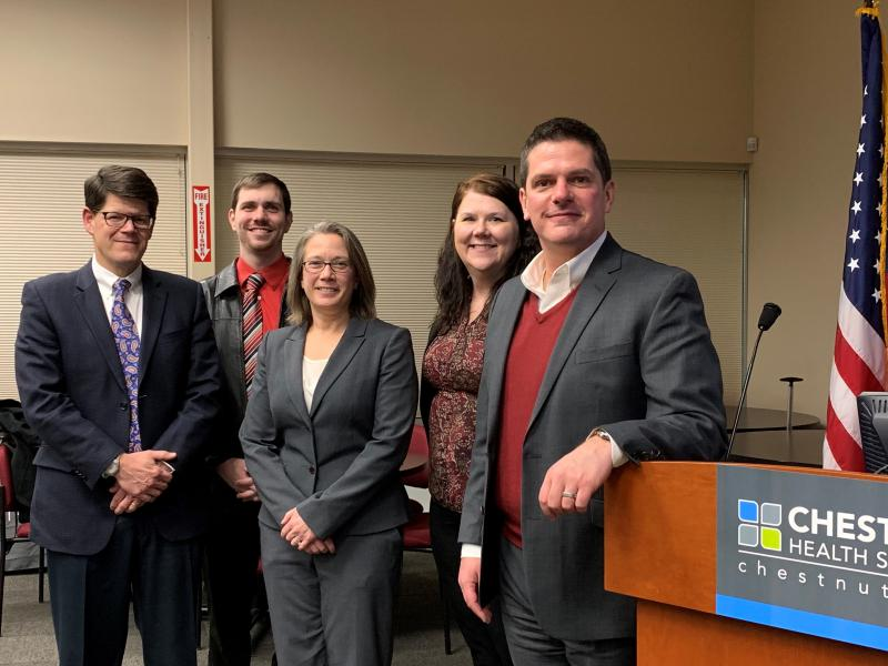 (From left) Dr. John Wieland, Brian Hinman, Kristine Herman, Carol West, and John Pompe spoke at a Chestnut forum on opioid addiction treatment and prevention Nov. 28, 2018.
