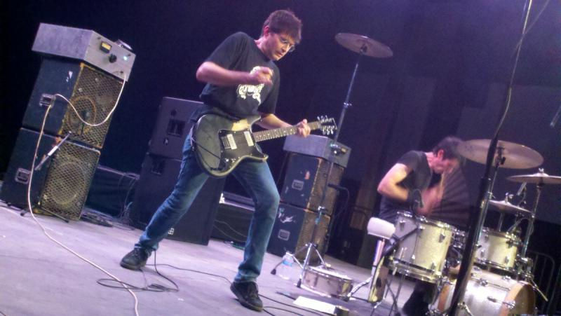 Steve Albini, left, with his band Shellac