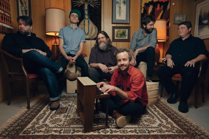 Dave Simonett, at the piano, with Trampled By Turtles