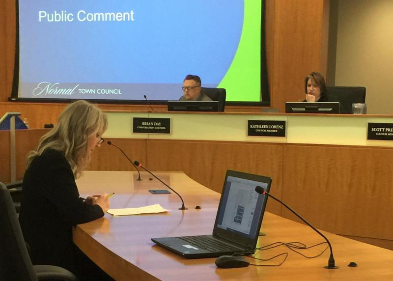 Woman speaks to Normal council
