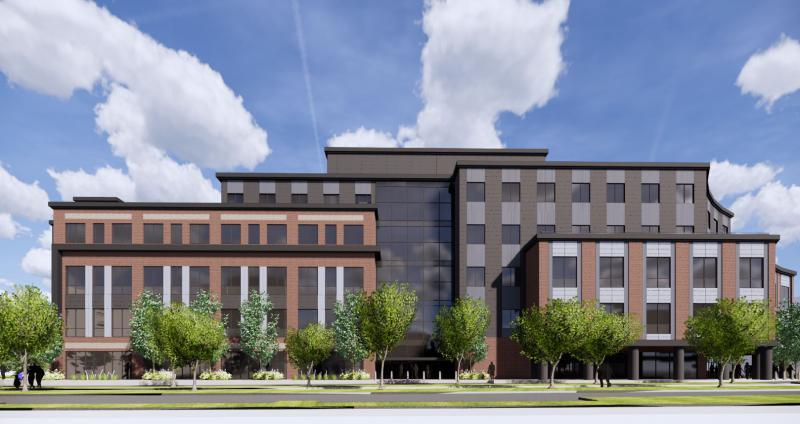 The design for the new Trail East building in Uptown Normal