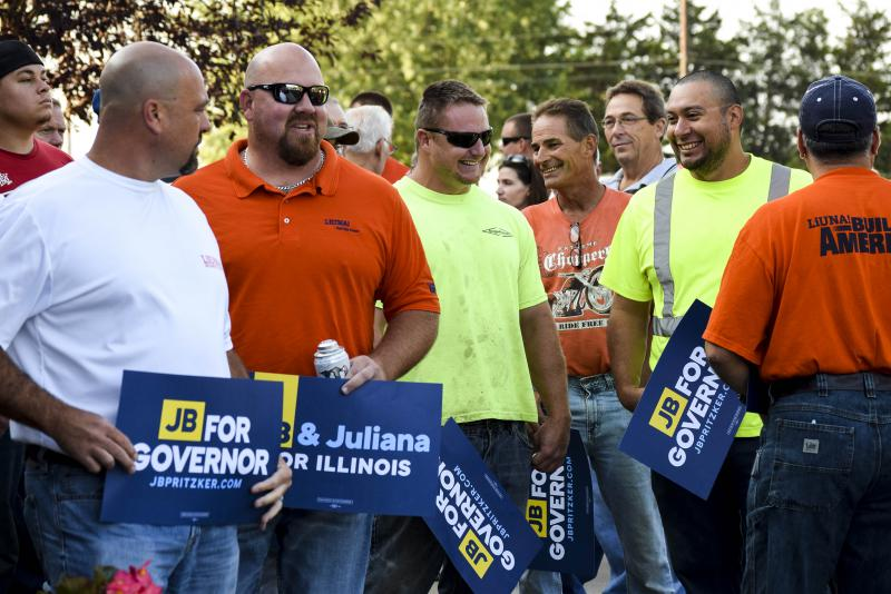 Union members at an event Thursday, Aug. 31, 2017, featuring Democratic candidate for governor JB Pritzker.