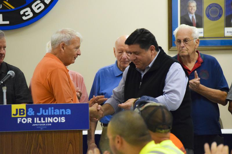 Democratic candidate for JB Pritzker during his Bloomington stop at a union hall Thursday, Aug. 31, 2017.