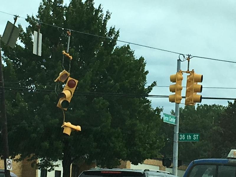 Downed traffic lights at 36th and Byron Center in Wyoming.