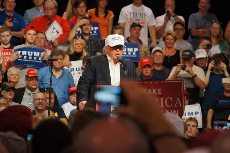 Donald Trump speaks in Dimondale, Mich., on Friday, August 19.