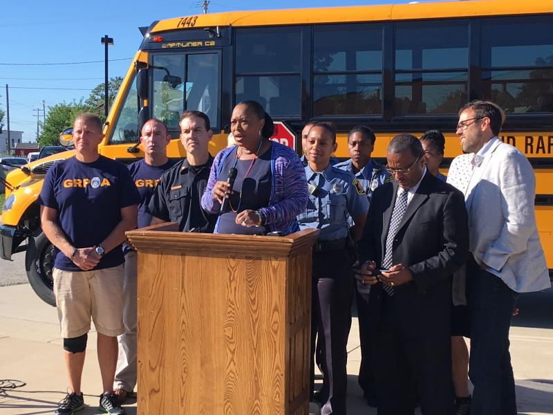 GRPS Superintendent Teresa Weatherall Neal (center) joins city and public safety officials at a press conference on Friday, September 2.