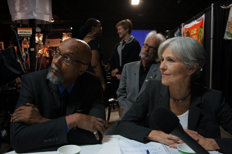 Green Party Presidential running mates Dr. Jill Stein and Ajamu Baraka at a Michigan campaign event in September.