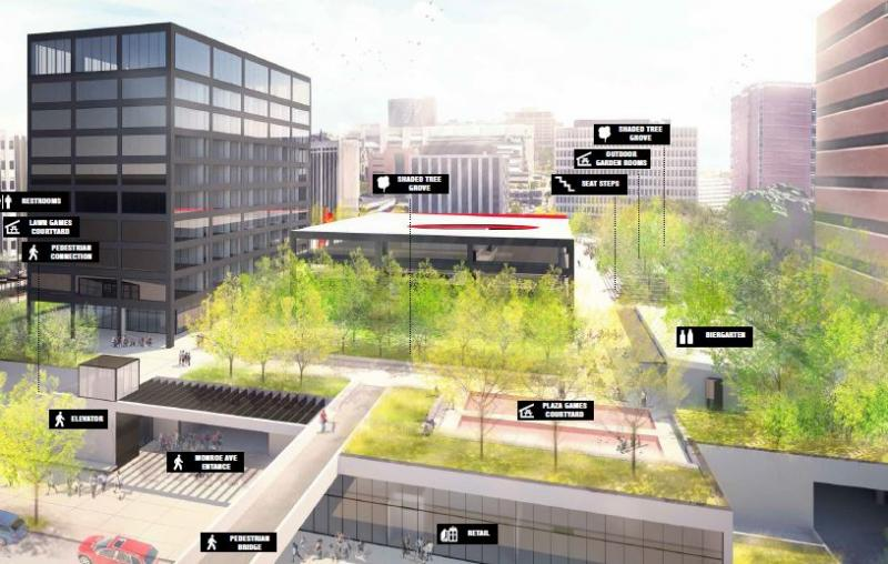 One of several Calder Plaza design proposals provided to participants and city officials.