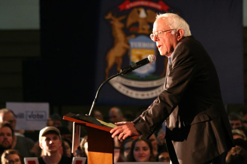 Bernie Sanders speaks in Grand Rapids in October 2016.