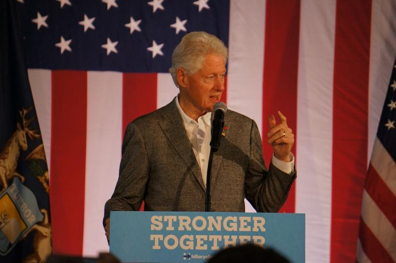 Bill Clinton speaks at Michigan campaign stop in September 2016.