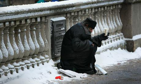 Homeless man on bridge
