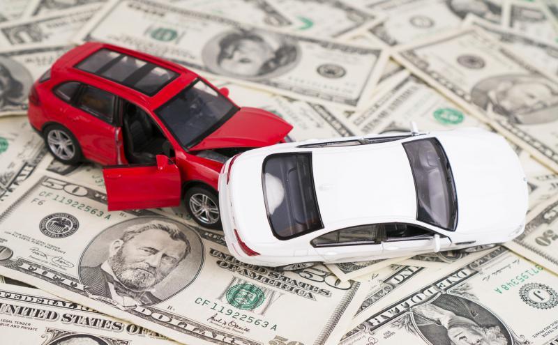 Car crash on pile of money