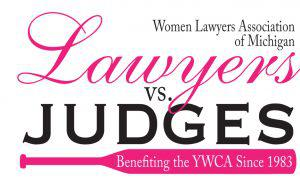 Women Lawyers vs. Judges softball game logo