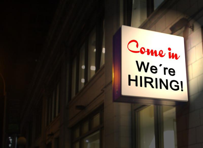 Come in We're Hiring sign