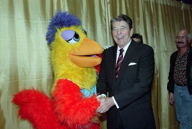 President Ronald Reagan with the Sand Diego chicken