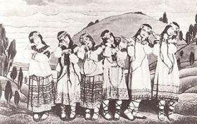 A posed group of dancers in the original production of Igor Stravinsky's ballet The Rite of Spring, showing costumes and backdrop by Nicholas Roerich.