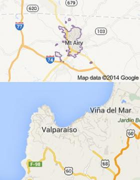 Mayberry, NC (Mt. Airy) and Vina de Mar, Chile. Compare and contrast.