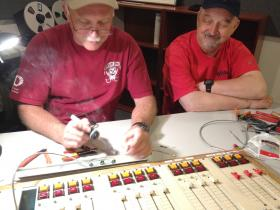 Jobie and George wiring the audio console (Monday night)