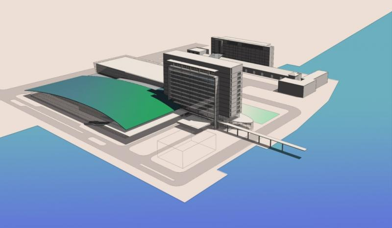 A proposed design for the convention center and hotel.