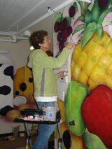 Artist Becky Cary at work in the museum