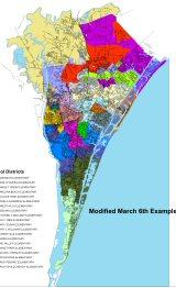 One of the proposed redistricting maps