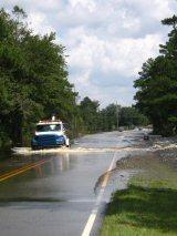 Highway 87 flooded by the Northeast Cape Fear.